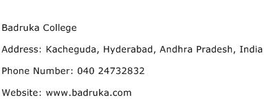 Badruka College Address Contact Number