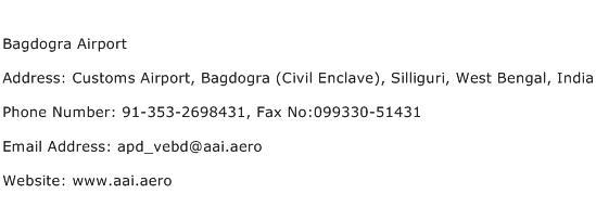 Bagdogra Airport Address Contact Number