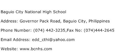Baguio City National High School Address Contact Number