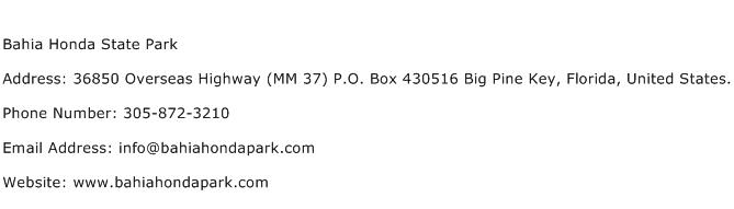 Bahia Honda State Park Address Contact Number