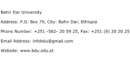 Bahir Dar University Address Contact Number