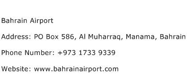 Bahrain Airport Address Contact Number