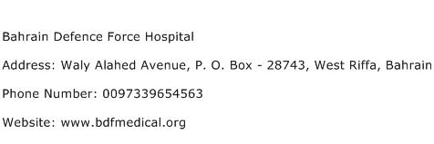 Bahrain Defence Force Hospital Address Contact Number