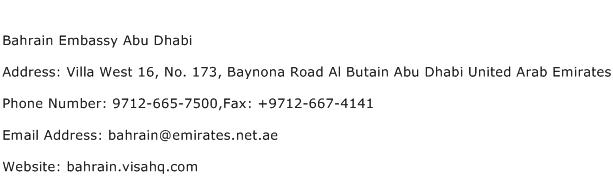 Bahrain Embassy Abu Dhabi Address Contact Number