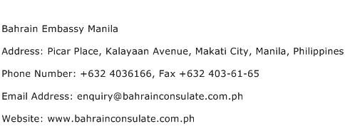 Bahrain Embassy Manila Address Contact Number