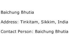 Baichung Bhutia Address Contact Number