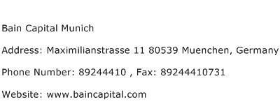 Bain Capital Munich Address Contact Number