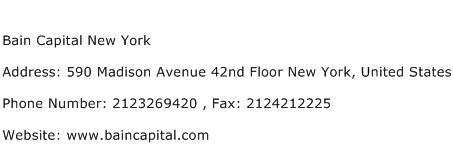 Bain Capital New York Address Contact Number