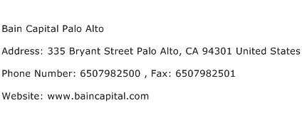 Bain Capital Palo Alto Address Contact Number