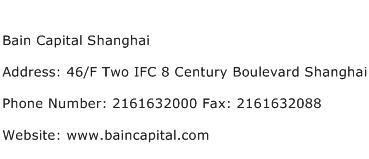 Bain Capital Shanghai Address Contact Number