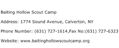 Baiting Hollow Scout Camp Address Contact Number