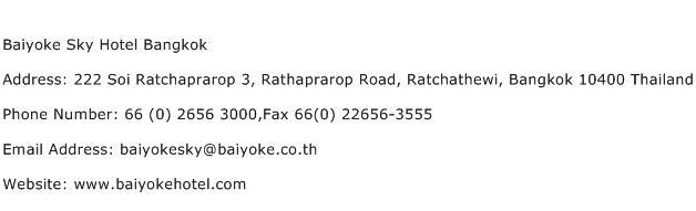 Baiyoke Sky Hotel Bangkok Address Contact Number