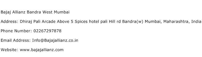 Bajaj Allianz Bandra West Mumbai Address Contact Number