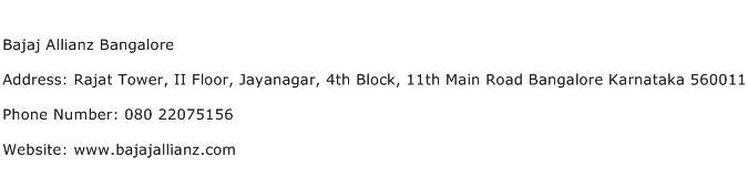 Bajaj Allianz Bangalore Address Contact Number