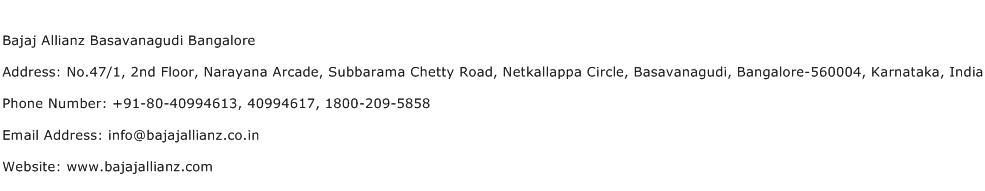 Bajaj Allianz Basavanagudi Bangalore Address Contact Number