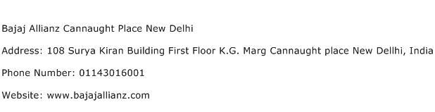 Bajaj Allianz Cannaught Place New Delhi Address Contact Number
