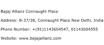 Bajaj Allianz Connaught Place Address Contact Number