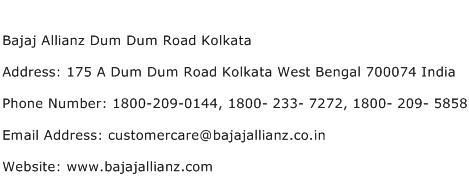 Bajaj Allianz Dum Dum Road Kolkata Address Contact Number