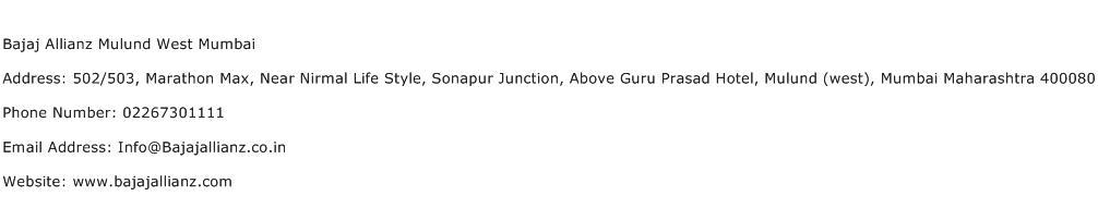 Bajaj Allianz Mulund West Mumbai Address Contact Number