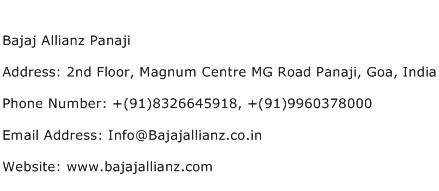 Bajaj Allianz Panaji Address Contact Number