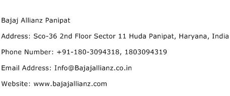 Bajaj Allianz Panipat Address Contact Number