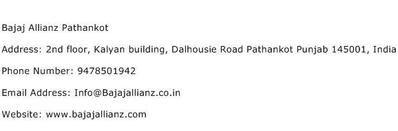 Bajaj Allianz Pathankot Address Contact Number