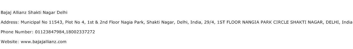 Bajaj Allianz Shakti Nagar Delhi Address Contact Number