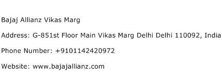 Bajaj Allianz Vikas Marg Address Contact Number