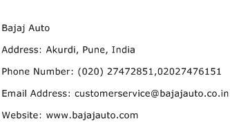 Bajaj Auto Address Contact Number