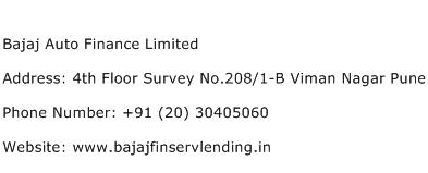 Bajaj Auto Finance Limited Address Contact Number