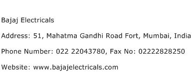 Bajaj Electricals Address Contact Number