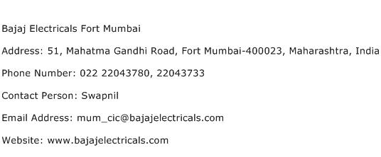 Bajaj Electricals Fort Mumbai Address Contact Number