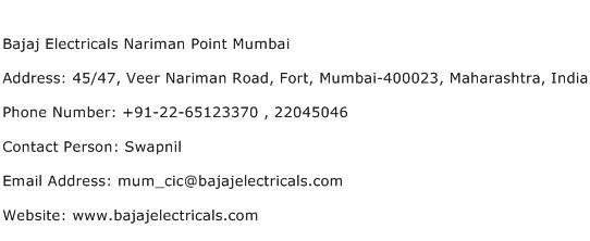 Bajaj Electricals Nariman Point Mumbai Address Contact Number