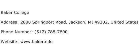 Baker College Address Contact Number