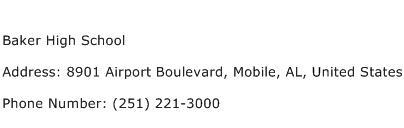 Baker High School Address Contact Number