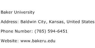 Baker University Address Contact Number