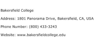 Bakersfield College Address Contact Number