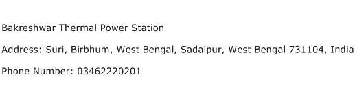 Bakreshwar Thermal Power Station Address Contact Number