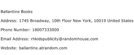 Ballantine Books Address Contact Number