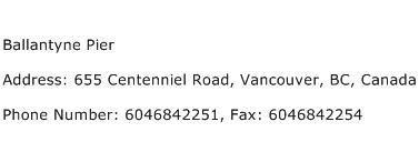 Ballantyne Pier Address Contact Number