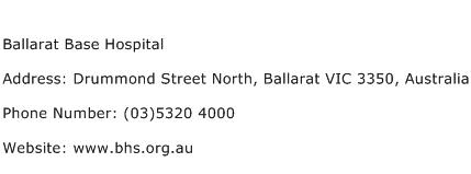 Ballarat Base Hospital Address Contact Number