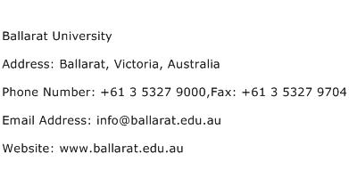Ballarat University Address Contact Number