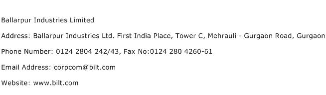 Ballarpur Industries Limited Address Contact Number