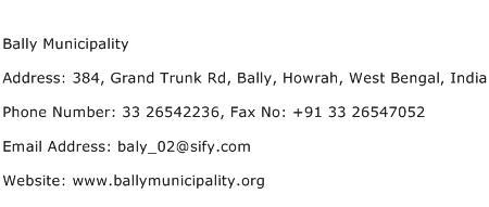Bally Municipality Address Contact Number