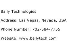 Bally Technologies Address Contact Number
