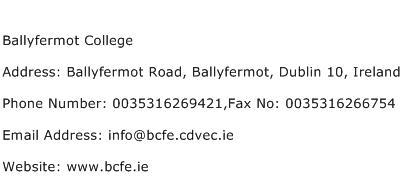 Ballyfermot College Address Contact Number