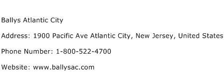 Ballys Atlantic City Address Contact Number