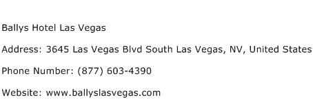 Ballys Hotel Las Vegas Address Contact Number