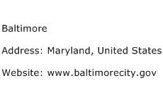 Baltimore Address Contact Number