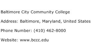 Baltimore City Community College Address Contact Number